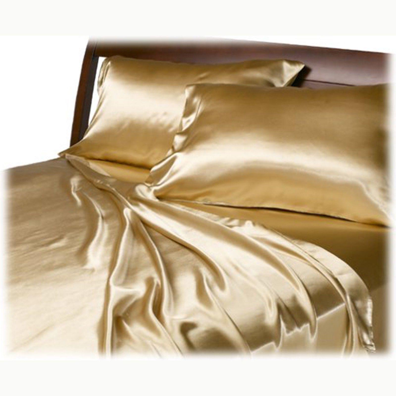 Satin Charmeuse Sheet Queen Soft Silk Luxury Gold