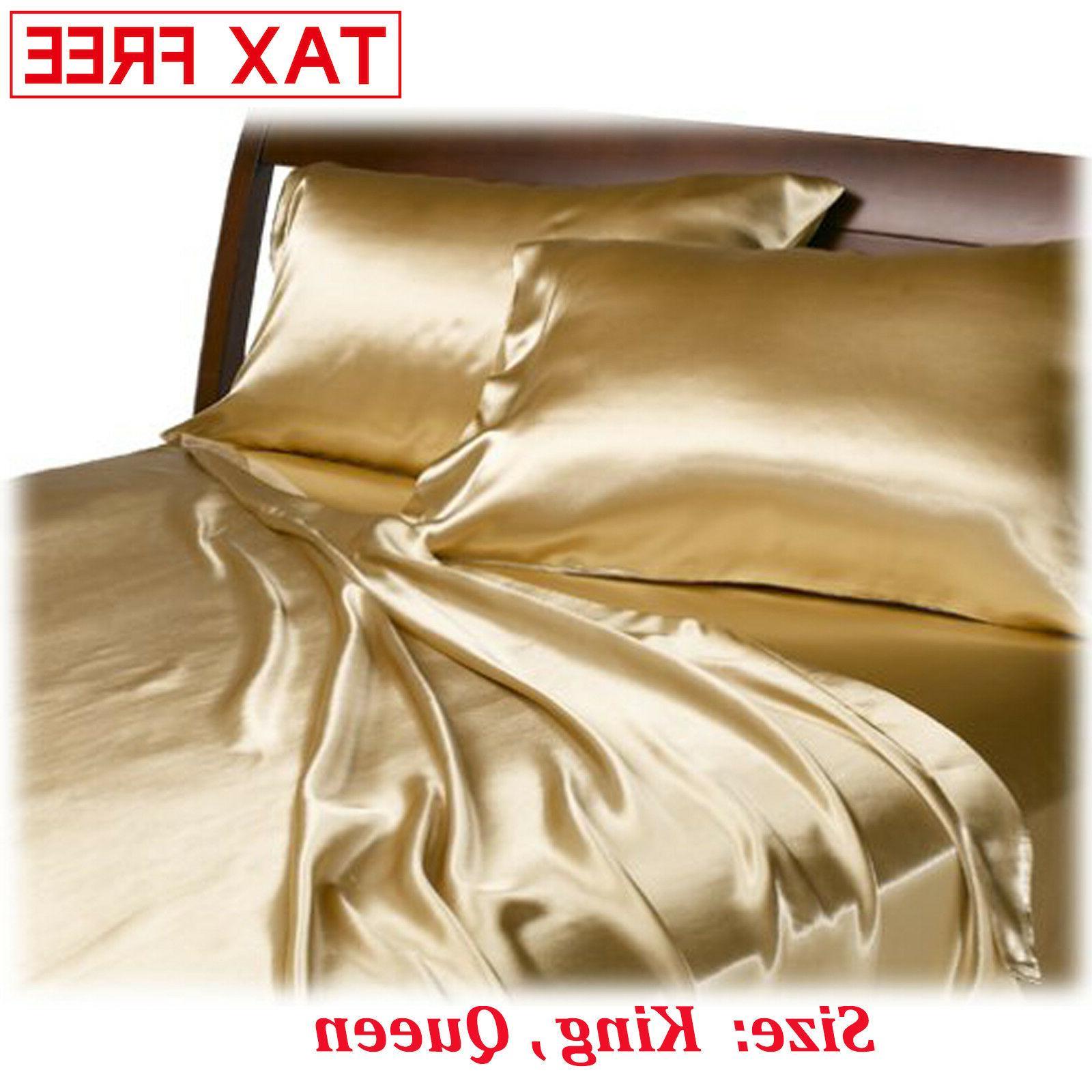satin charmeuse sheet set queen king soft
