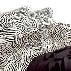 Satin Sheet Set KING Size Zebra Print Silk Feel Animal Safar