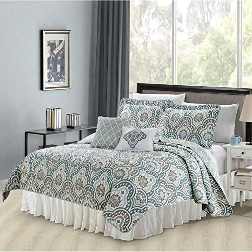 Serenta Printed Bedspread Bed cover Quilt Cotton Polyester Filled Embroidery Pillow Set, King