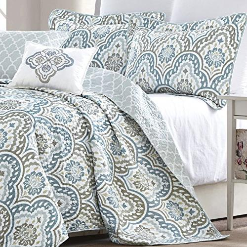 Serenta Ikat 5 Printed Prewashed Bedspread cover Summer Quilt Cotton Polyester Embroidery Pillow Set,