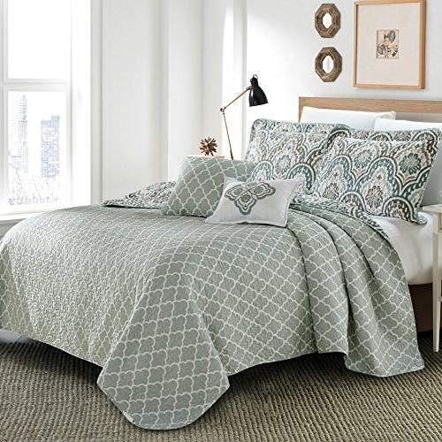 Serenta Tivoli Ikat 5 Piece Printed Prewashed Bedspread cover Quilt with Polyester Filled Set, King