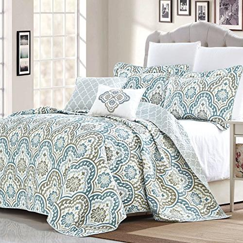 Serenta 5 Teal Printed Bedspread Bed cover Summer Quilt Blanket with Cotton Polyester Filled Set,
