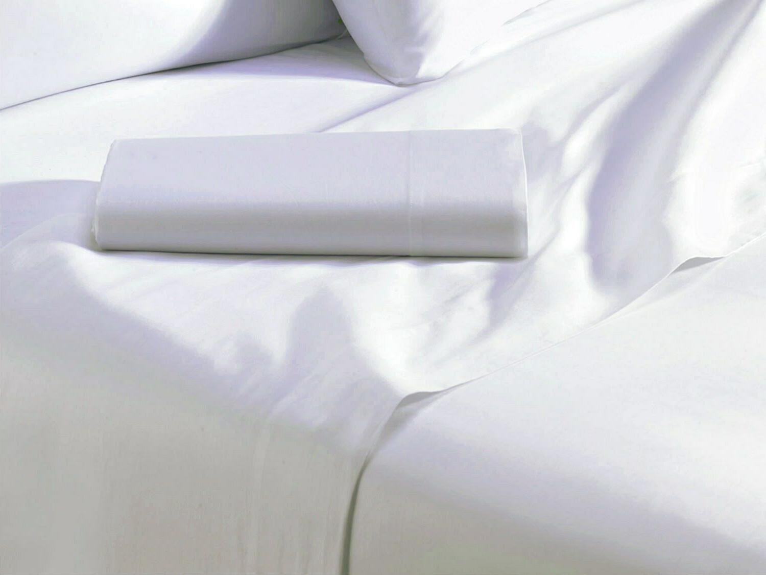 Soft Flat Sheets Top Bed Sheets 100% Cotton, Classic White,