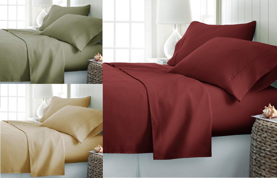 SOLID PREMIUM DRESSING  BED SHEET SET FLAT FITTED DEEP POCKE