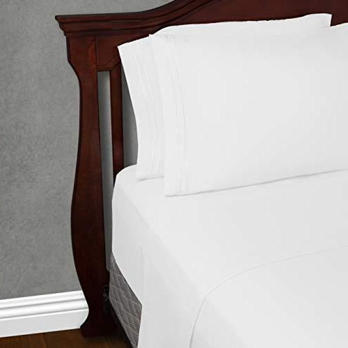 Cosy House Collection Split King Bed Sheets White Luxury Sheet - Pocket - Super Bedding - Free - 2 1 Cases Sheets