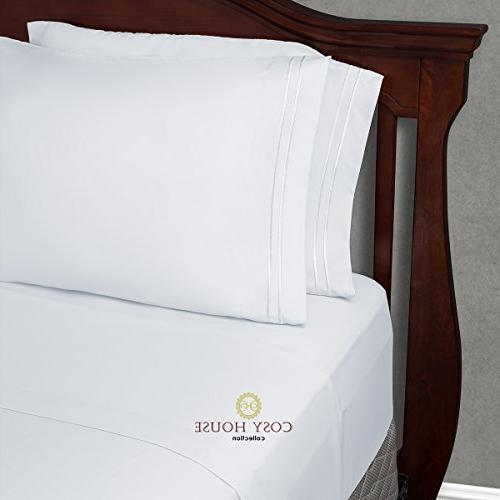 Cosy King Bed Sheets White Luxury - - Super Free Cases - - 5 Piece