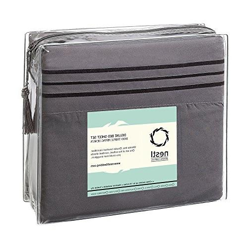 Nestl Bedding Sheet Set 1800 Deep Pocket Set - Hotel Luxury Double Brushed Microfiber - Pocket Sheet, Flat