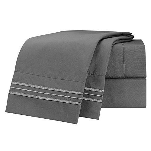 Sheet Set - Deep Pocket Bed Set - Double Brushed Sheets - Deep Pocket Sheet, Flat Sheet, Cases, King