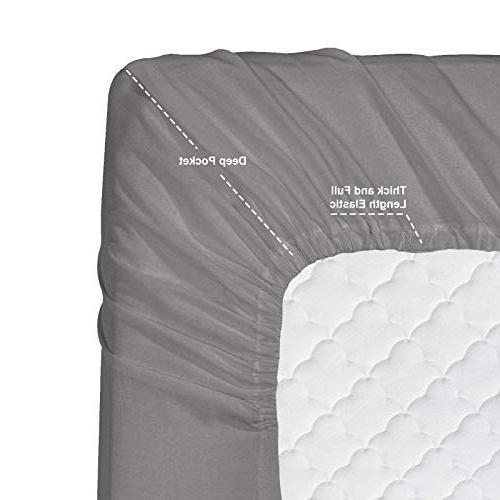 Nestl Bedding 4 Sheet Set - Deep Set - Hotel Double Sheets - Deep Pocket Sheet, Flat Cases, - Gray
