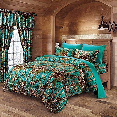 teal camo comforter sheet set