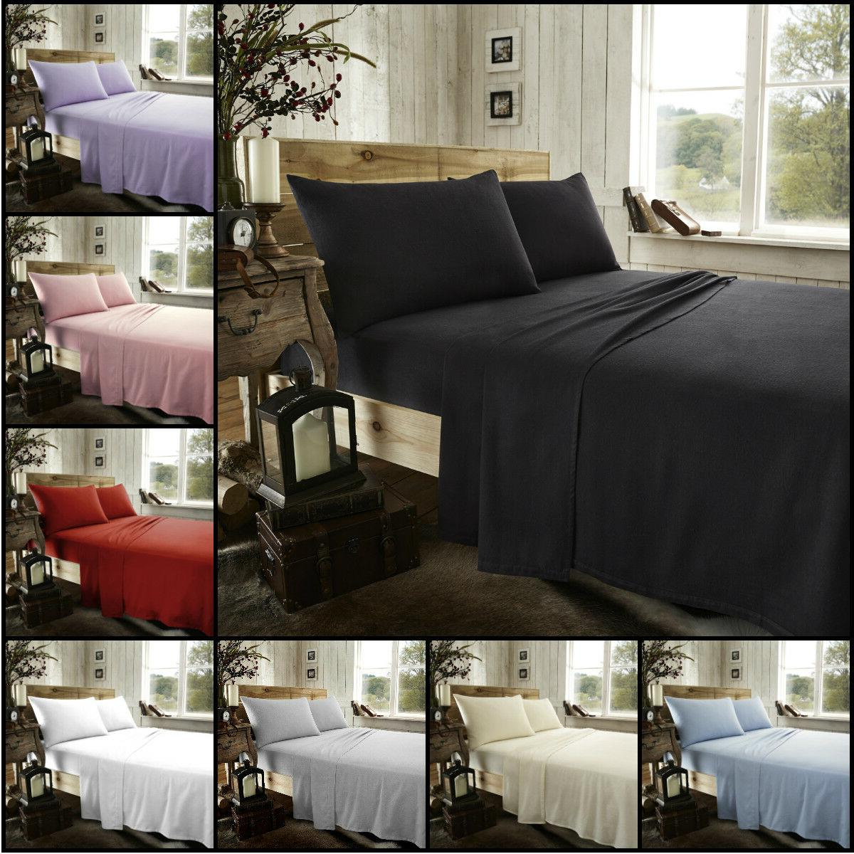 Thermal Flannelette Fitted Flat Bed Sheet Single Double