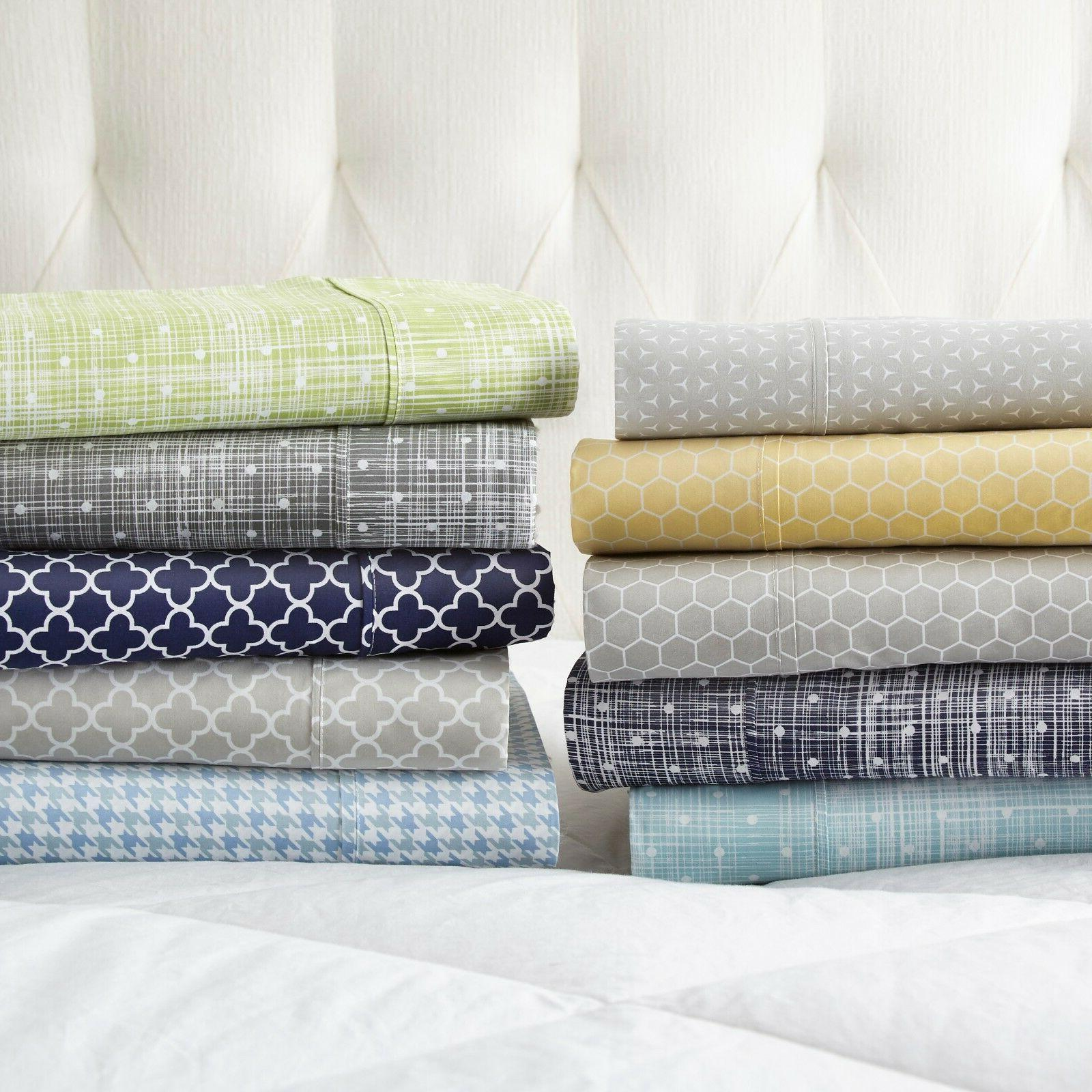 Ultra Soft Premium 4 Piece Printed Bed Sheet Set by Linen Ma