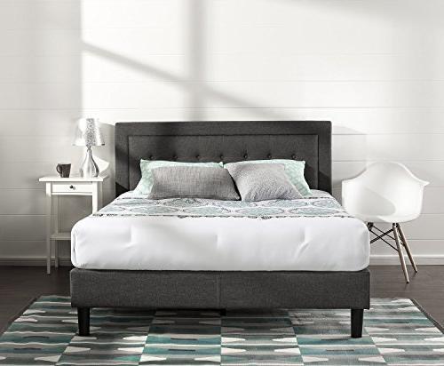 upholstered button tufted platform bed