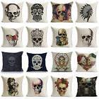 Vintage Skull Cotton Linen Sofa Pillow Case Waist Cushion Co