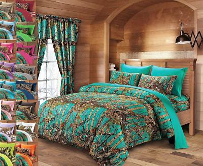 woods queen lime camo bedding