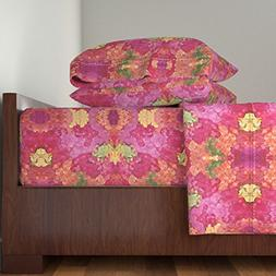 Roostery Leaves 4pc Sheet Set Bright Rose Colored Abstract b