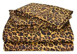 Leopard Print King Size Ultra Soft Natural 4 PCs Bed Sheet S