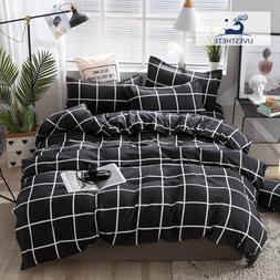Liv-Esthete Fashion Black Grid Bedding Set Soft Decor Duvet