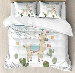 Llama Duvet Cover Set King Size by Ambesonne, Cute Abstract