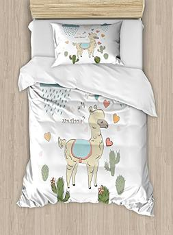 Ambesonne Llama Duvet Cover Set Twin Size, Cute Abstract Alp