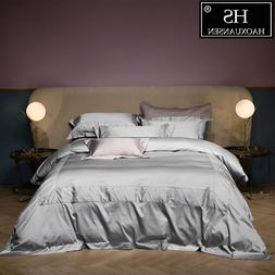 Luxurious 100% Egyptian Cotton Light Gray Jacquard Bedding S