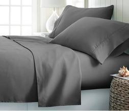 luxurious bedding set dark grey solid cotton