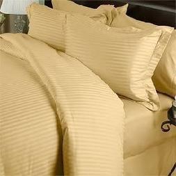 Luxurious GOLD Damask Stripe, EASTERN KING Size, 800 Thread