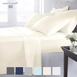 Luxury 1000 Thread Count Ivory 6 Piece King Sheet Set with 2