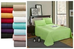 "Luxury 4 Pcs Bed Sheet 100% Egyptian Microfiber 14"" Deep Sof"