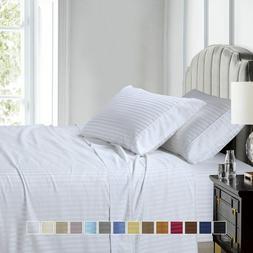Luxury Soft 100% Cotton Sateen Stripe Deep Pocket Sheet Set
