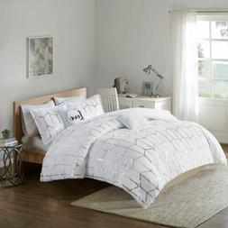 Luxury White & Metallic Silver Geometric Comforter Set AND D