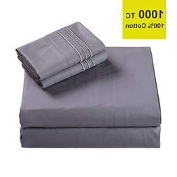 EMONIA True Luxury 100% Egyptian Cotton Bed Sheets 1000 Thre