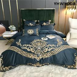 Luxury Embroidery Satin Silk Cotton Bedding Set Duvet Cover