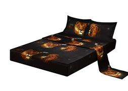 Bednlinens Luxury 4 Piece Sheet Set 3d Lion Pride Print King