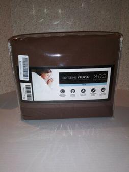 CGK Unlimited Luxury Sheet Set-King-Brown-6pc