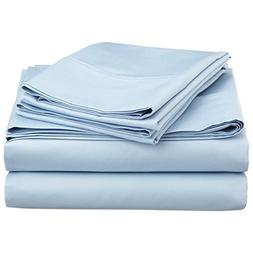 Adjustable King Bed Sheets 7PCs Light Blue Solid -100% Egypt