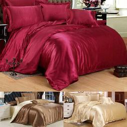 Luxury Silk Blend Twin Queen King Size Duvet Cover Pillowcas