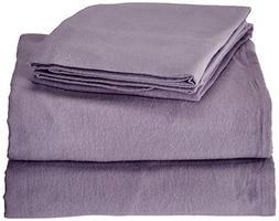 TRIBECA LIVING Luxury Solid Flannel Deep Pocket Sheet Set, K