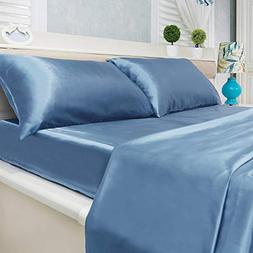 4-Piece Super Soft Silky Satin Bed Sheet Set, Multiple Color