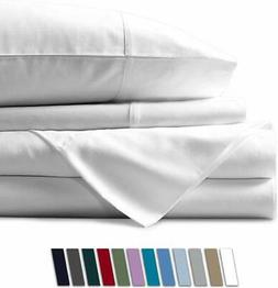 Mayfair Linen 100% Egyptian Cotton Sheets, White Twin Sheets