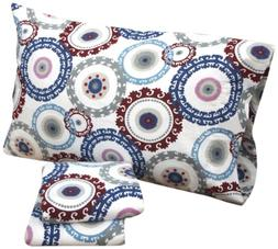 Tribeca Living Medallion Printed Deep Pocket Flannel Sheet S