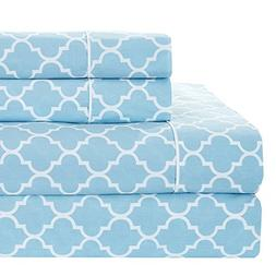 Meridian Blue and White Brushed Percale Cotton Sheets, 4pc C