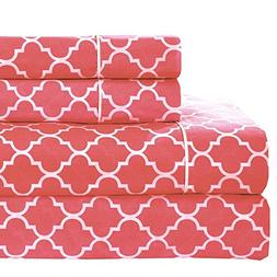 Meridian Coral and White Brushed Percale Cotton Sheets, 5pc