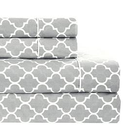 Meridian Gray and White Brushed Percale Cotton Sheets, 5pc A