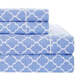 Meridian Periwinkle and White Brushed Percale Cotton Sheets,
