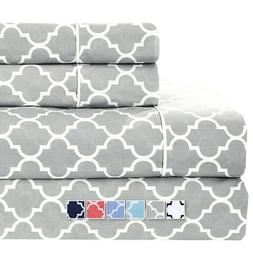 Flex Top California King Sheets 100% Cotton Meridian Printed