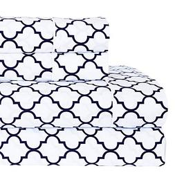 Meridian White and Navy Brushed Percale Cotton Sheets, 5pc A