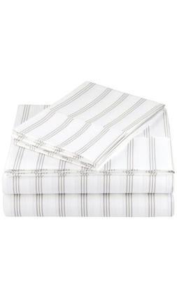 AmazonBasics Microfiber Sheet Set - King, Taupe Stripe