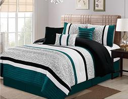 Luxlen 7 Piece Modern  Bed / Comforter in a Bag, King,  Teal
